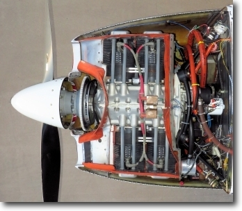 Bird's eye view of clean Glasiar engine cowl