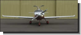 Front view of Glasair with custom wingtips and HID landing/taxi light